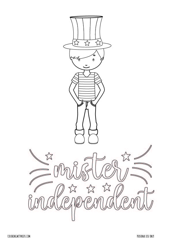 Boy 4th of July coloring page