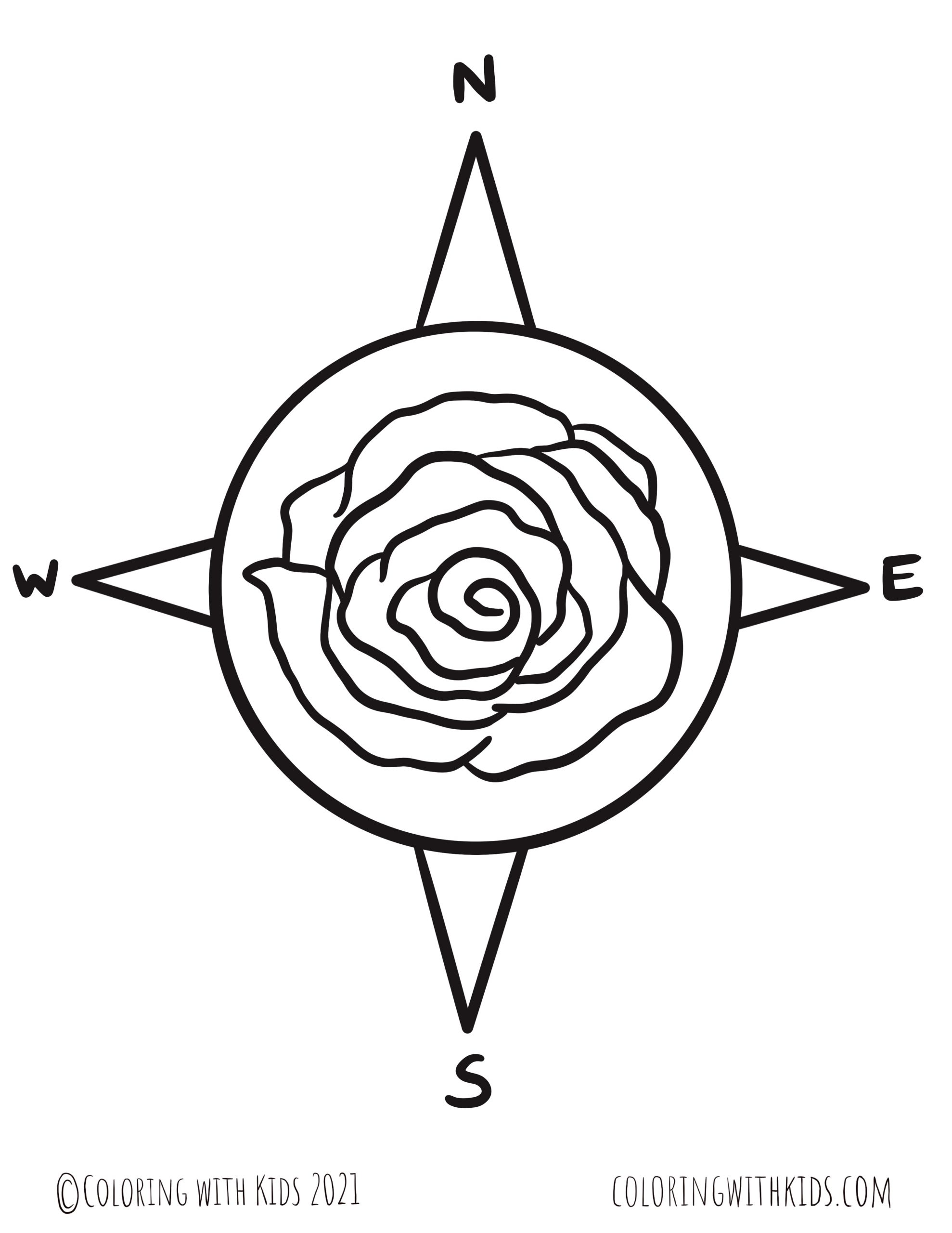 Compass Rose Star Coloring Page