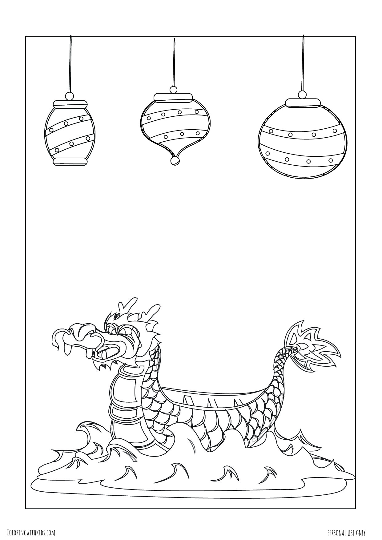 Dragon Boat and lanterns Coloring pages
