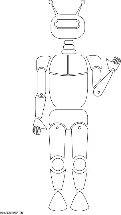 Friendly Robot Coloring Page