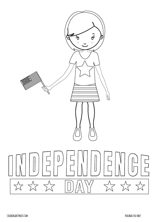 Girl Independence Day Coloring page