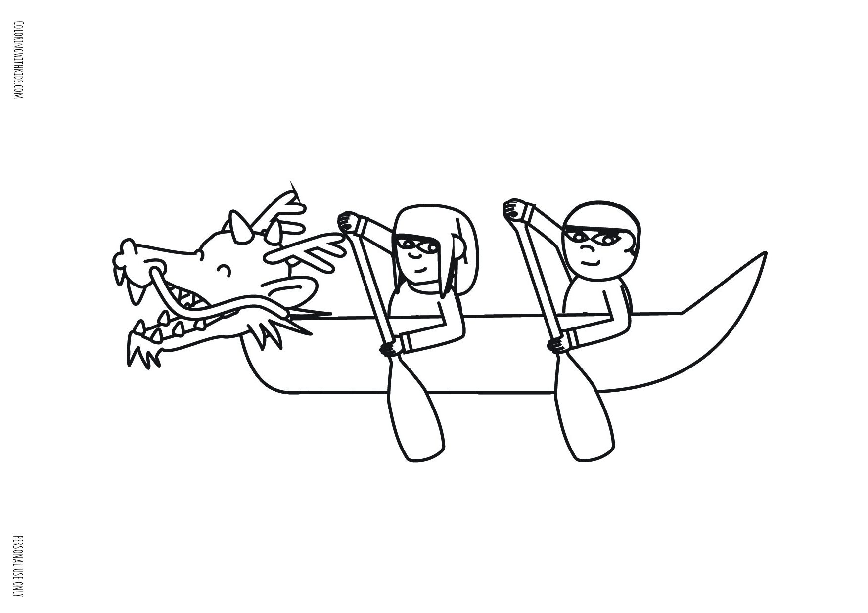 Girl and Boy Dragon Boating Coloring page