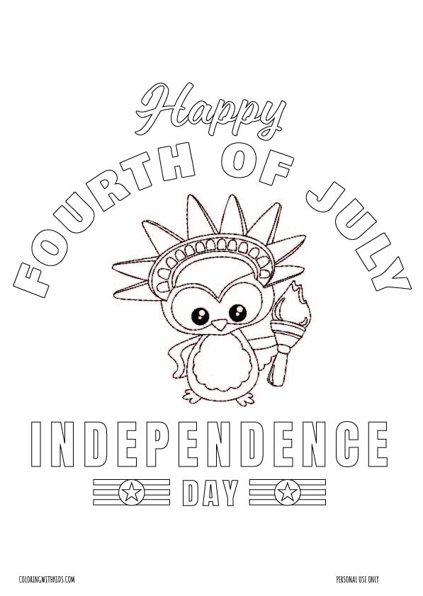 Happy Fourth of July coloring page