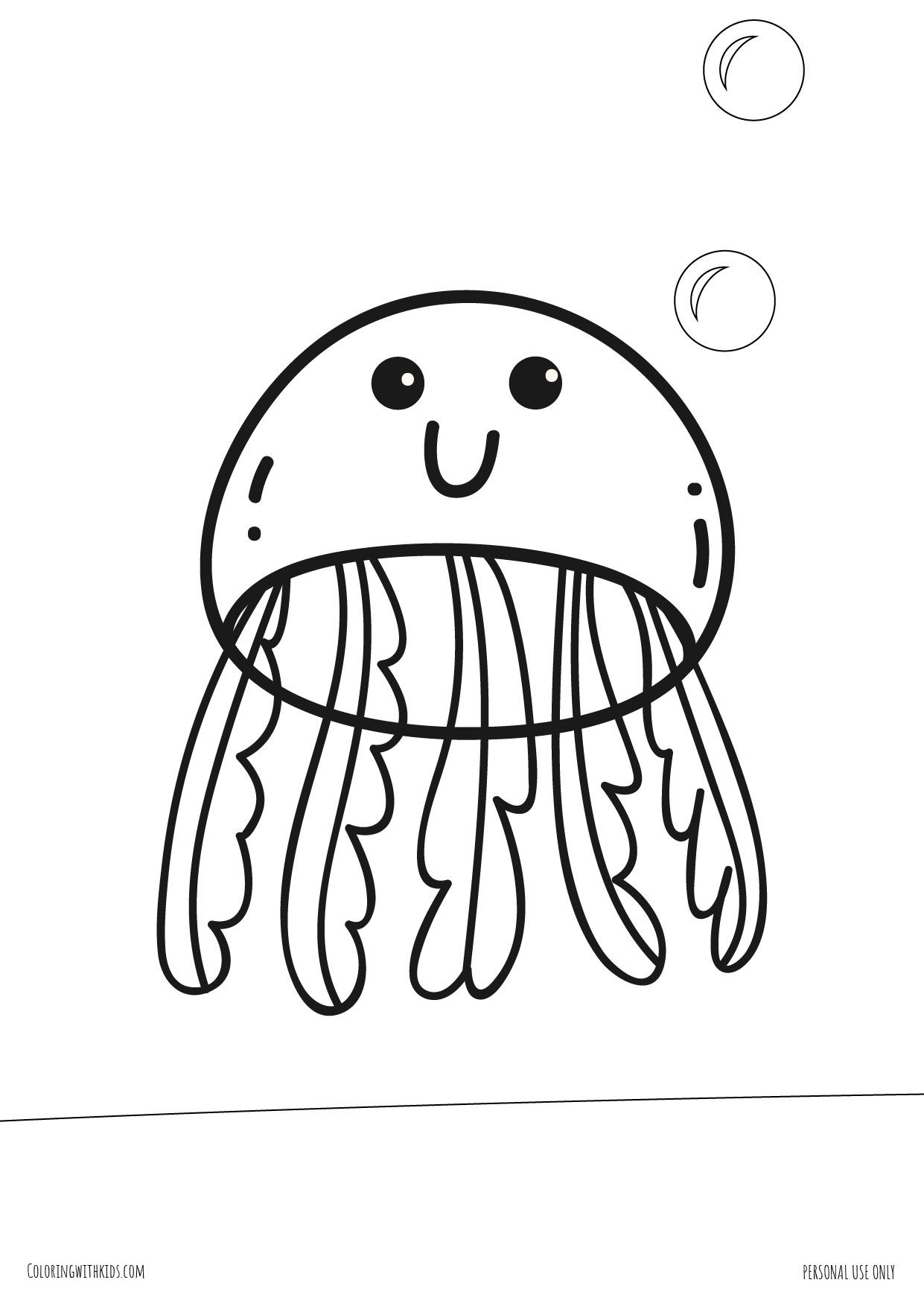 Kawaii Jellyfish Coloring page