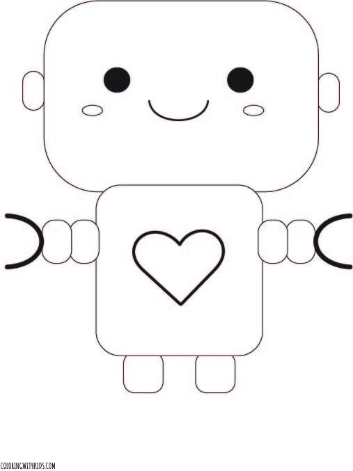 Kawaii Robot Coloring Page