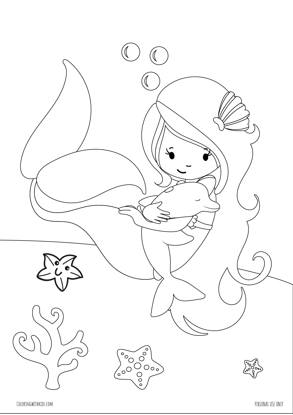Mermaid and Dolphin under the sea coloring page