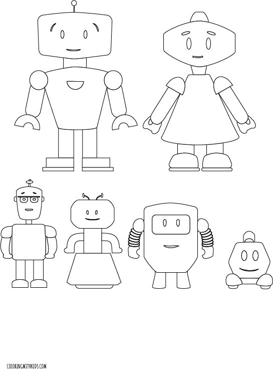 Robot Family Coloring Page