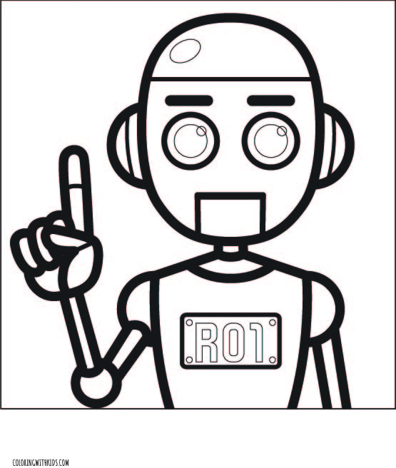 Robot Thinking Coloring Page
