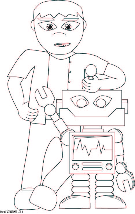 Robot and Boy Coloring Page