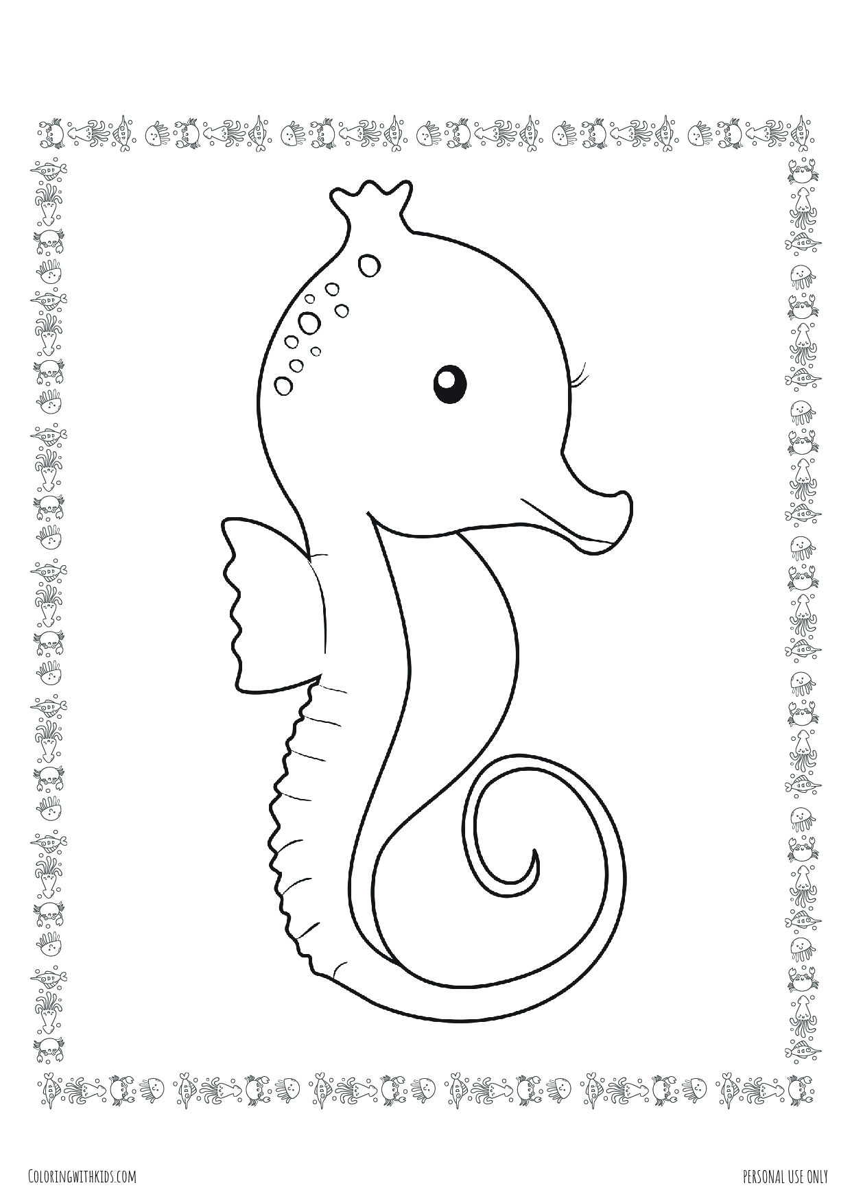 Seahorse with border coloring page