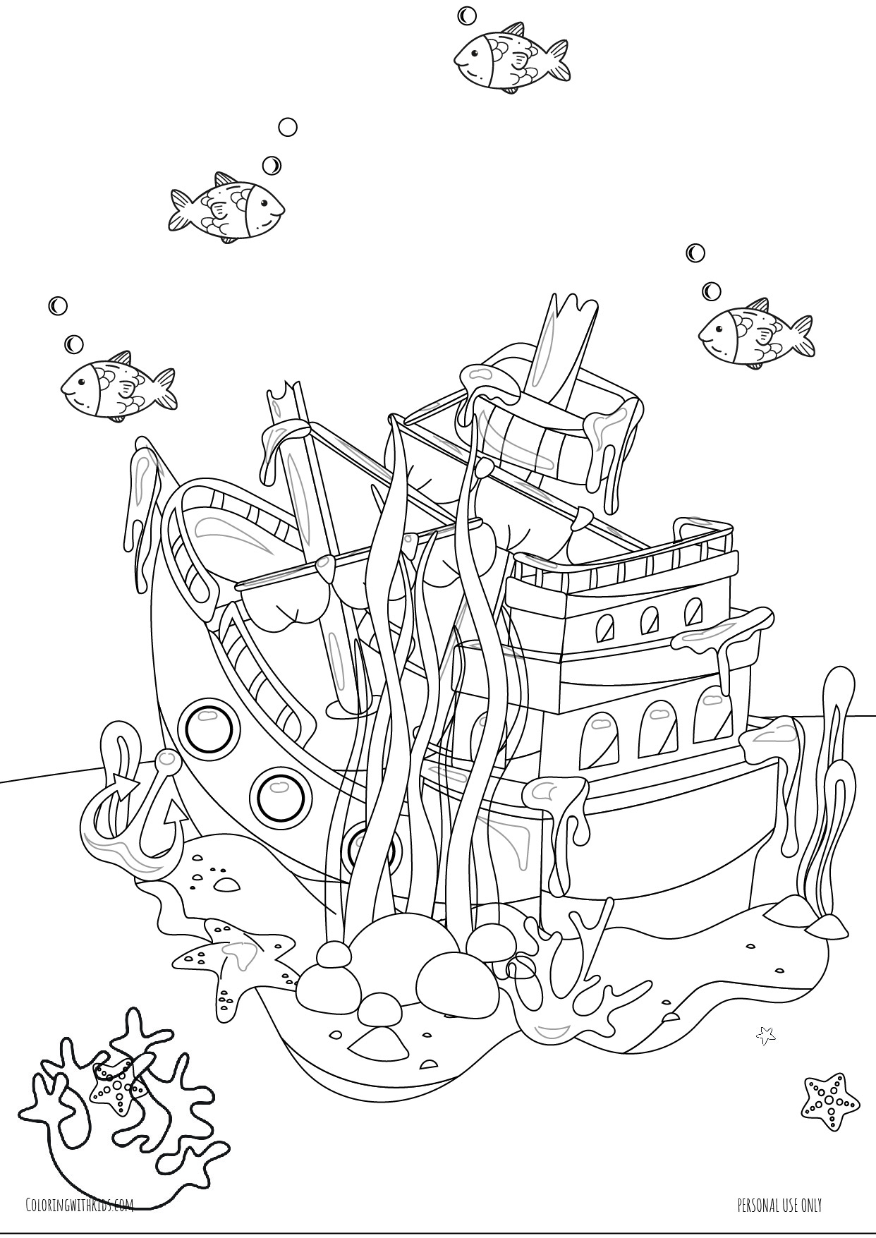 Shipwreck under the sea coloring page