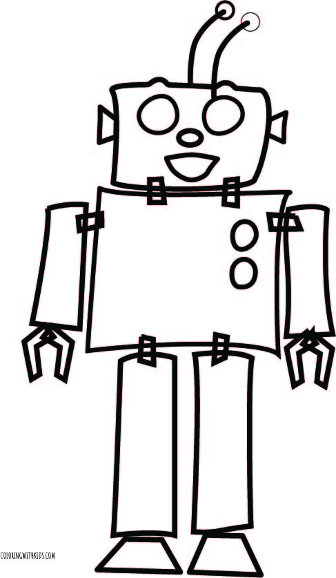 Simple Robot Coloring Page