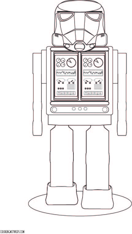 Space Robot Coloring Page