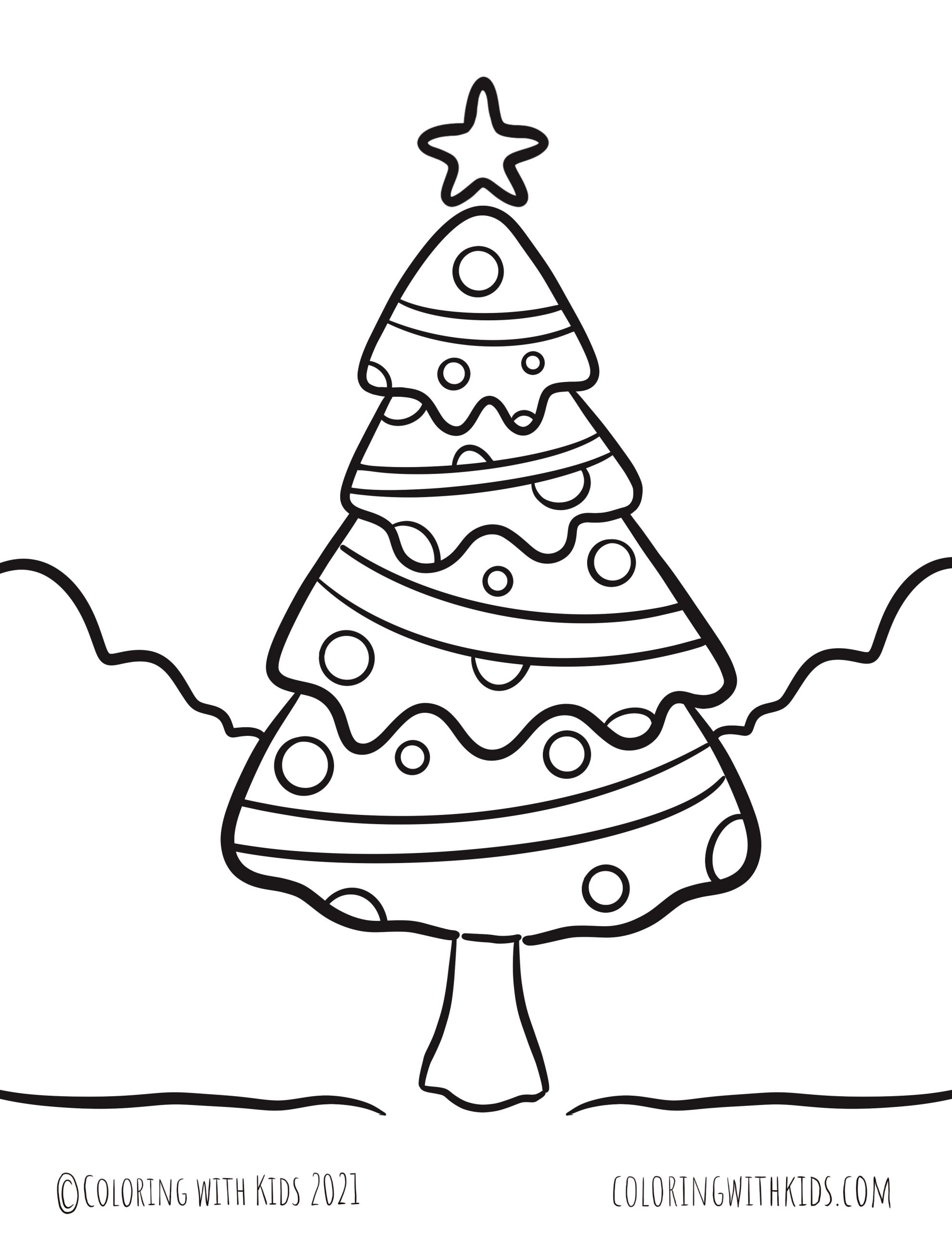 Star on Christmas Tree Coloring Page