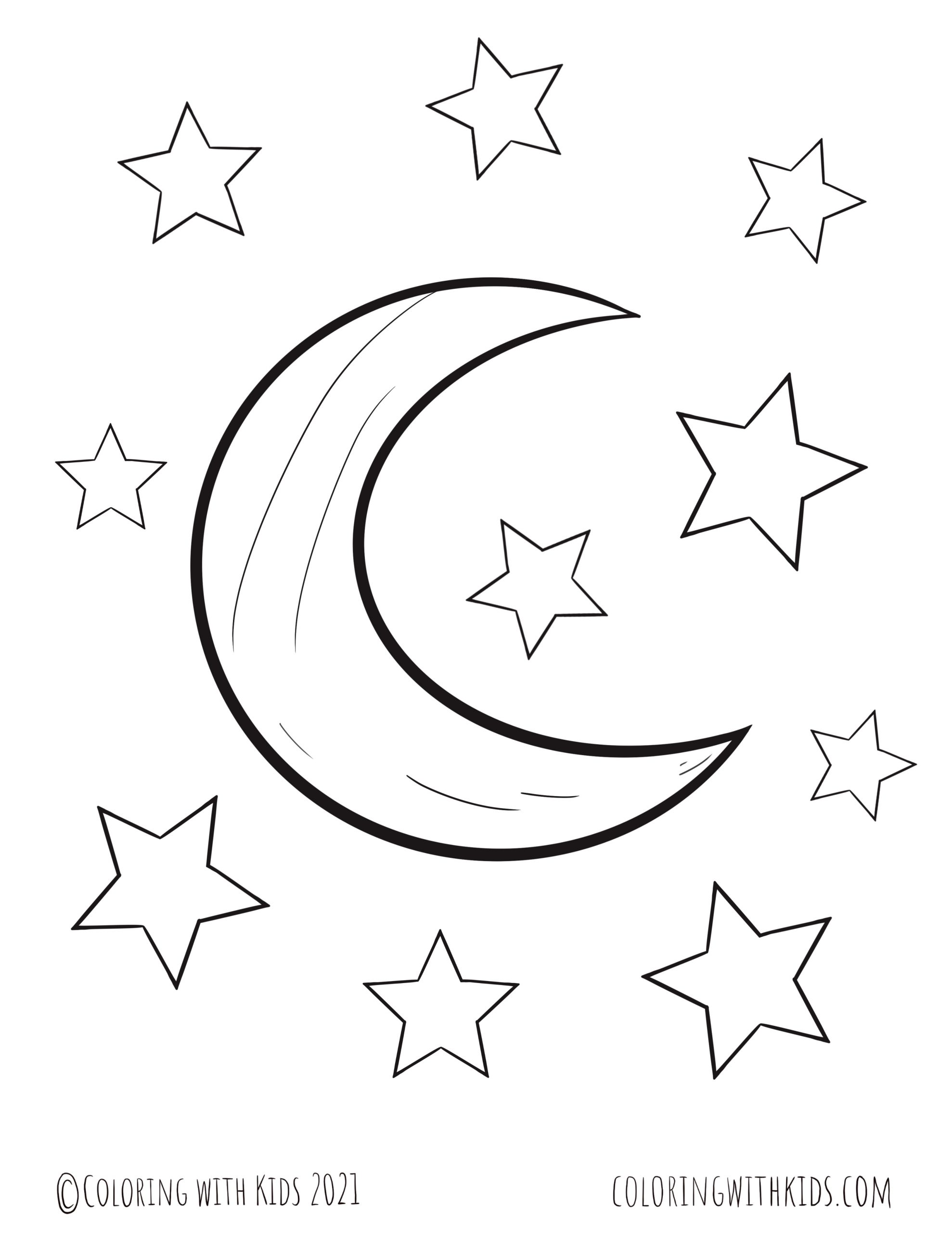 Stars and Moon Coloring Page