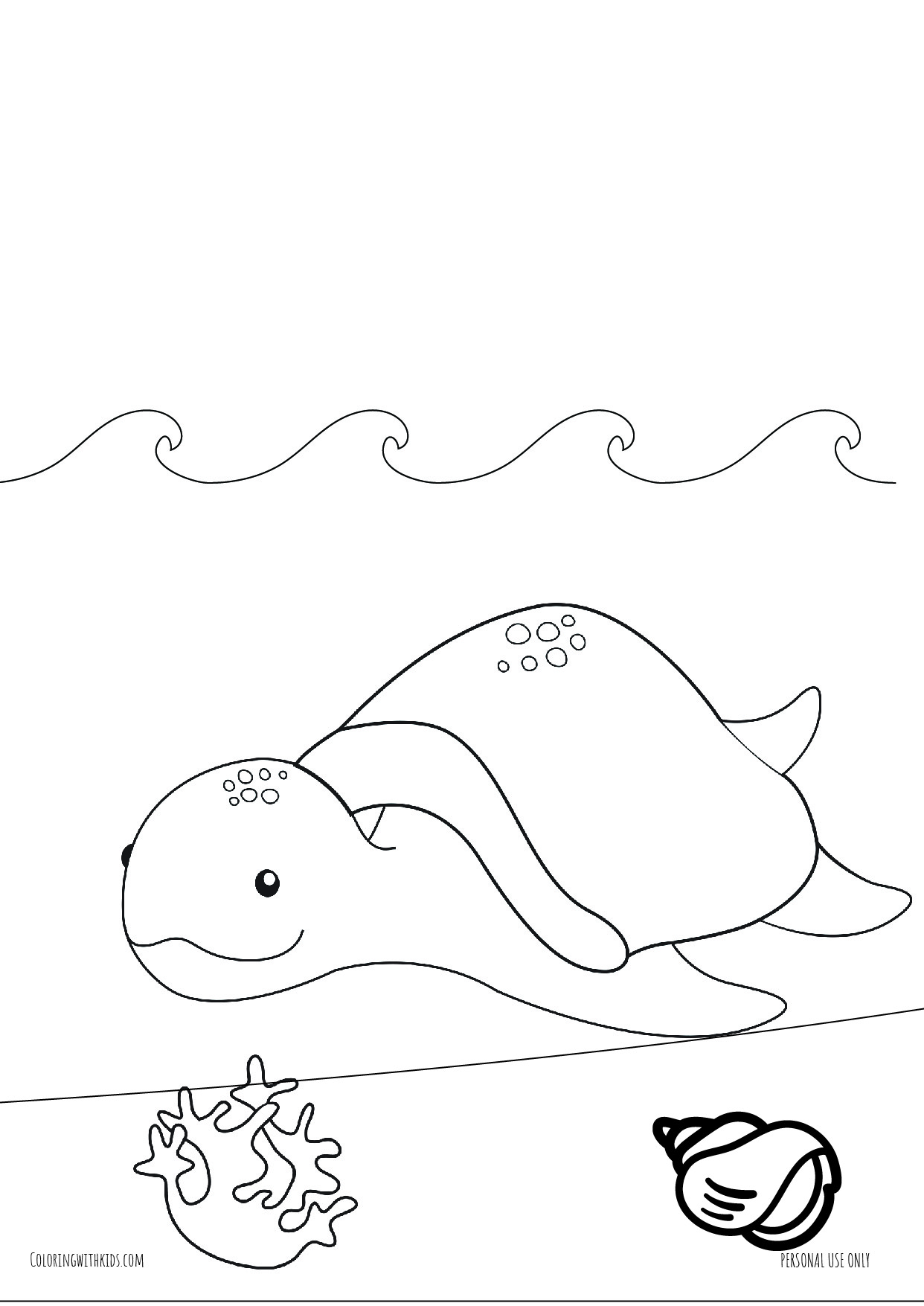 Turtle swimmig coloring pages