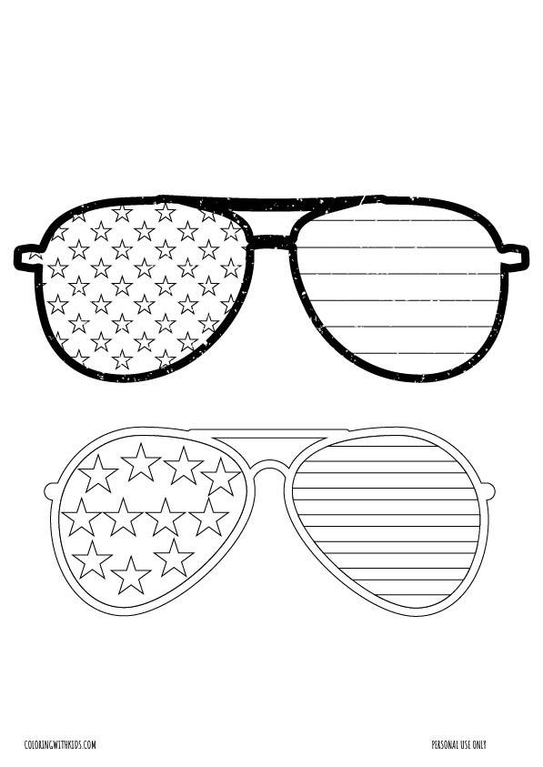 USA Sunglasses coloring page