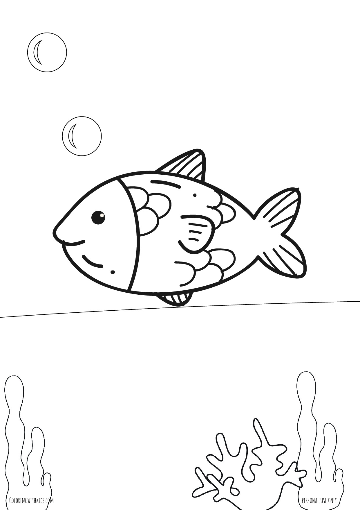 Under the sea fish coloring page