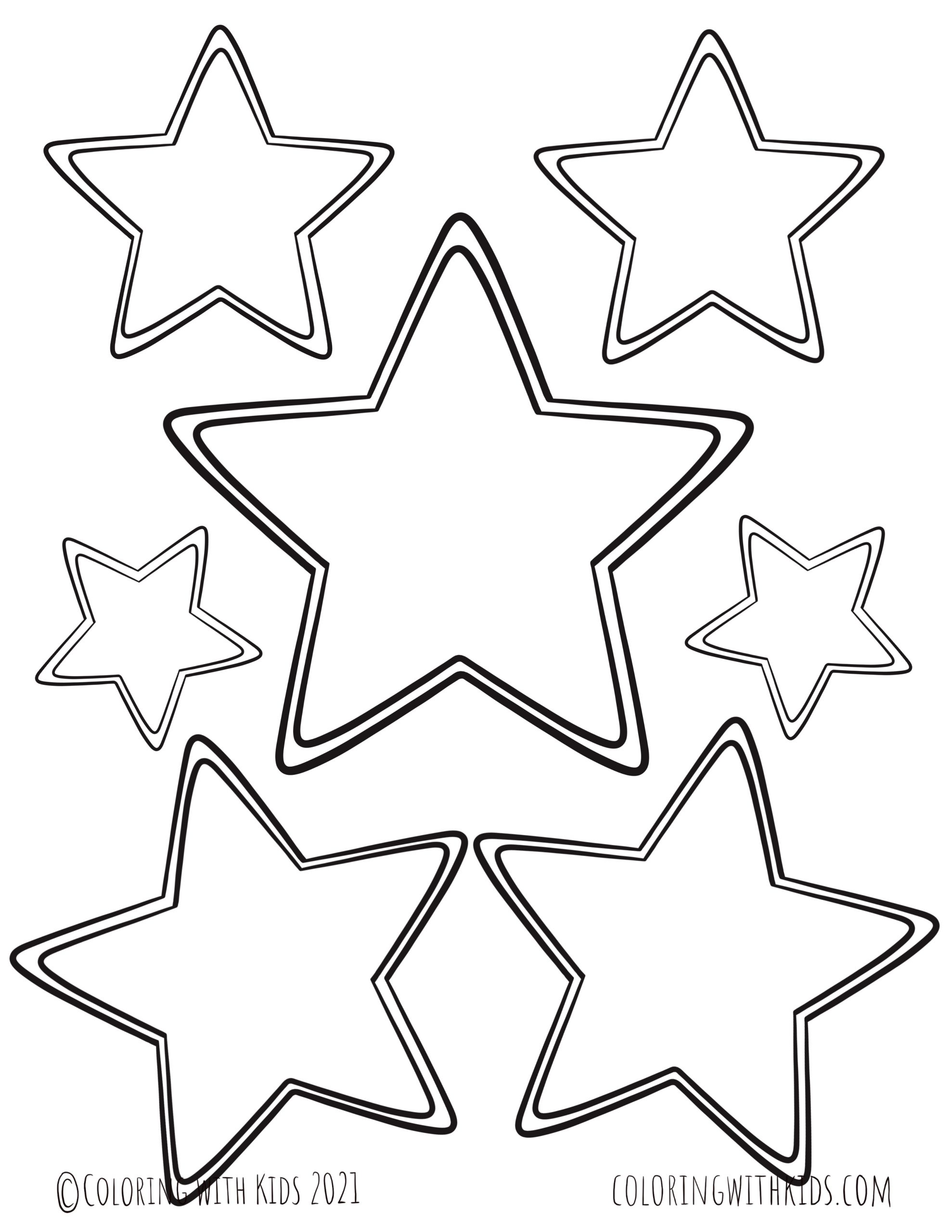 Various Size Stars Coloring Page