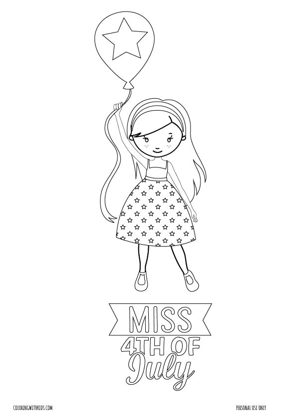 Miss 4th of July coloring page
