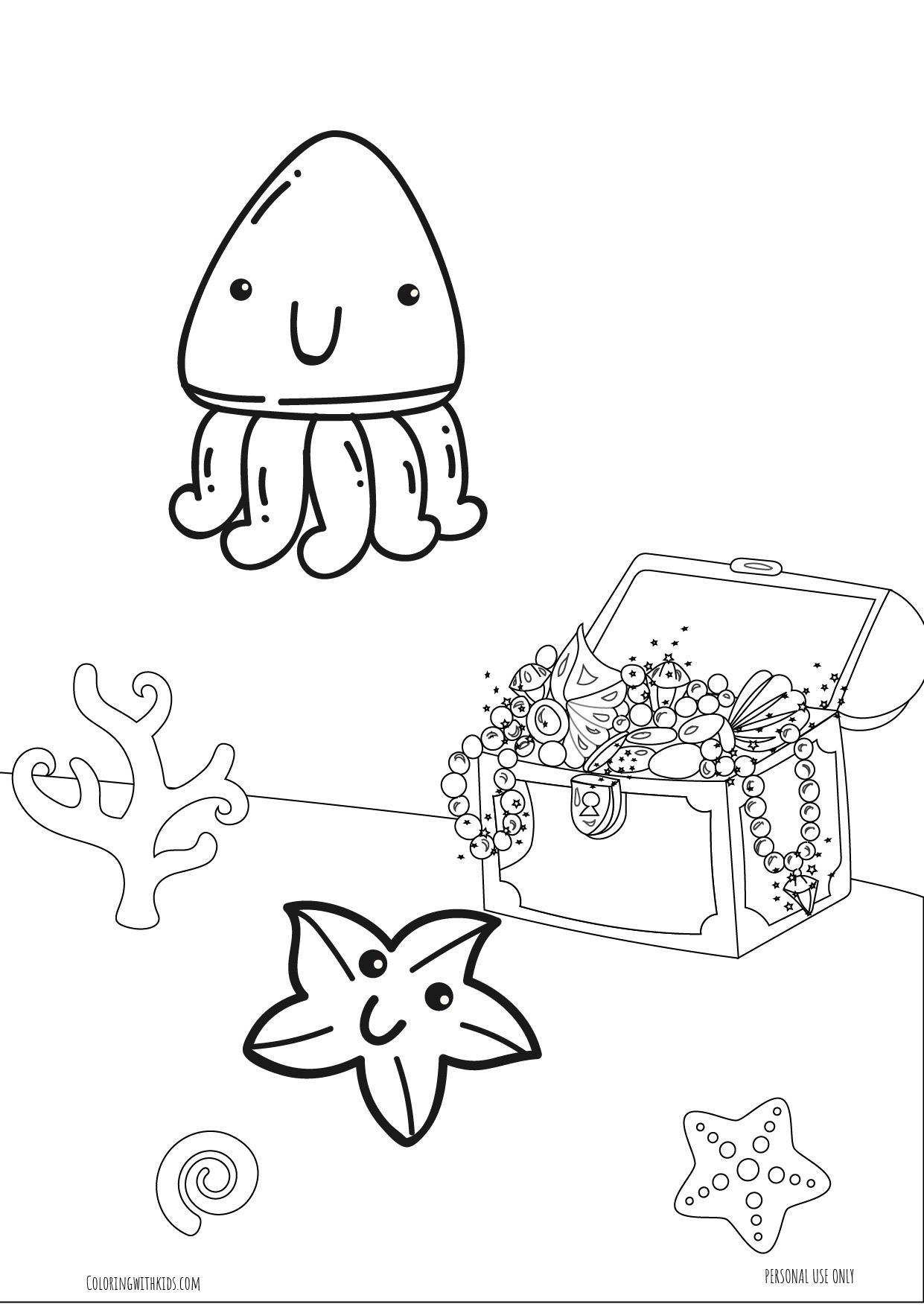 kawaii Squid Coloring page