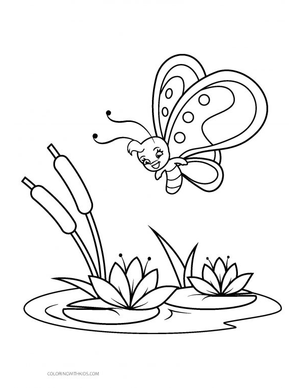 Butterfly with Reeds Coloring Page