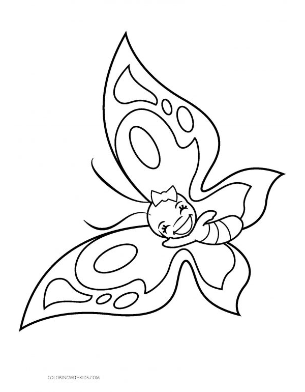 Smiling Girl Butterfly Coloring Page